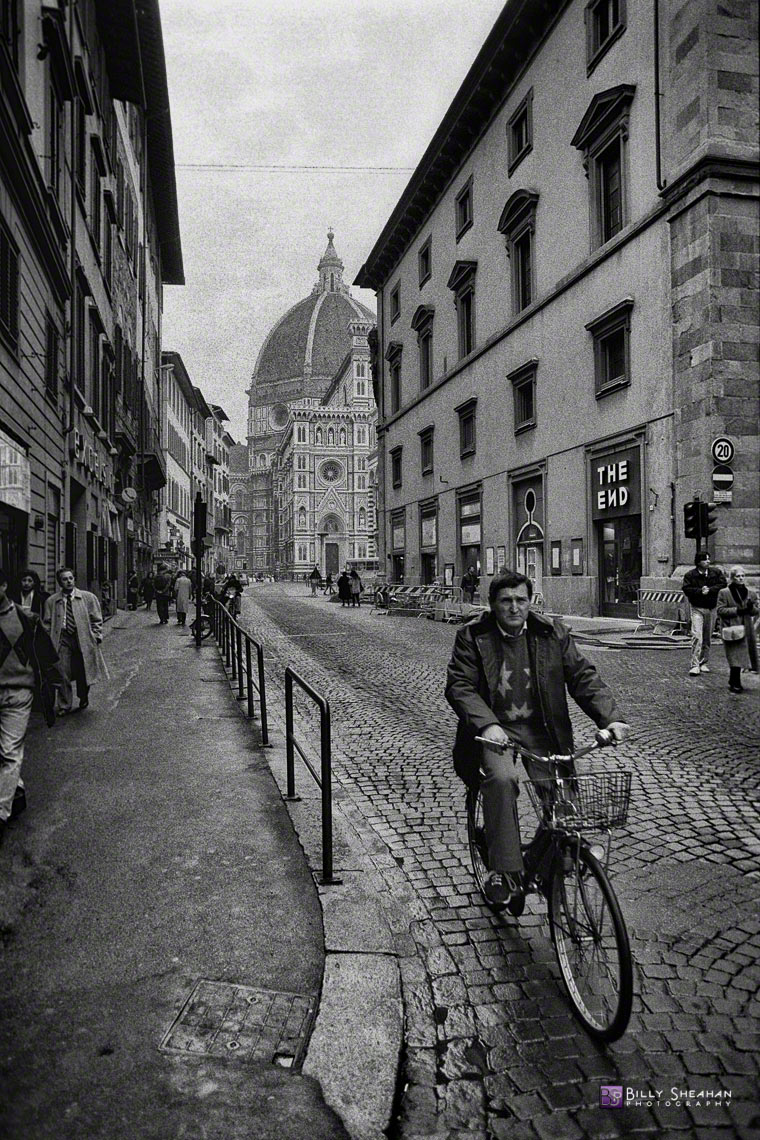 Bicyclist_Near_Duomo,_Florence,_Italy_Italy-126_18_BW_D