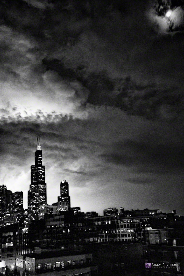 Full Moon Storm over Chicago Skyline